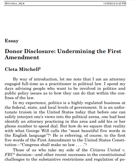 Example Of A Thesis Statement For An Essay Donor Disclosure Undermining The First Amendment Thesis Statements For Essays also Hamlet Essay Thesis Donor Disclosure Undermining The First Amendment  Institute For  Essay For English Language